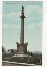 Monument To The Braves On St Foye Road Quebec Canada Vintage Postcard  219a