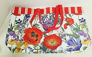 Older NEW Estee Lauder Tote Bag with Red Purple Poppies Yellow Flowers