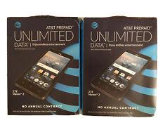 2X ZTE Maven 2 AT&T Prepaid Black 8GB Unlimited Data