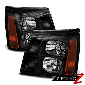 2002 Cadillac Escalade Base / EXT SUV Truck Harley Black Headlight Assembly PAIR
