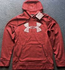 NWT Mens Under Armour M Red Heather/Relective Silver STORM Hoodie Medium