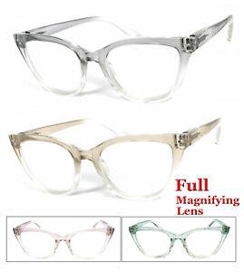 1 or 2 Pair Cat Eye Transparent 2 Tone Colorful Frame Full Lens Reading Glasses