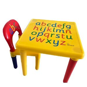 Table and Chair Set, Toddler Alphabetic Learning Activity Desk, Multicolor Child