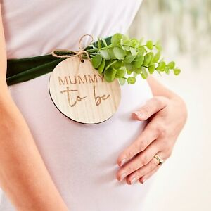 Botanical Baby, 'Mummy To Be' Wooden Baby Shower Sash, Keepsake