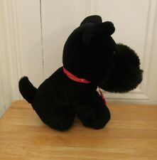 "Black Scottie Plush Dog 10"" Tall Stuffed Animal Toy"
