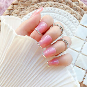 24pcs Sequined Pink Long False Nails Art Acrylic Full Cover Tips Manicure Glue
