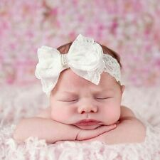 Baby Toddler White Lace Bow Hairband Headband