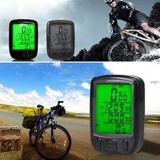Hot Waterproof LCD Display Bicycle Computer Odometer Speedometer Green Backlight