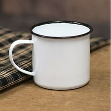 "Black Rim Enamel Coffee Mug 3""h x 4.5""w"