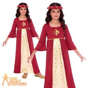 Kids Girls Red Tudor Princess Costume Maid Marian Book Week Fancy Dress Outfit
