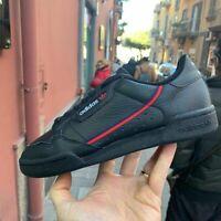 Adidas CONTINENTAL 80 Nere in pelle striscia rossa blu mod. G27707 ragazzo ragaz