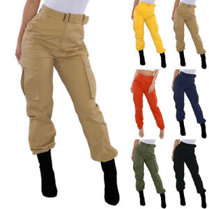 Womens Casual Combat Cargo Pants Ladies Joggers High Waist Pocket Trousers US