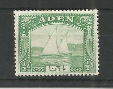 ADEN 1937 GEORGE 6TH 1/2a YELLOW-GREEN SG,1 M/M LOT 7548A