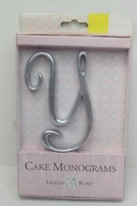 """Lillian Rose Monogram Cake Topper Letter Y Silver 5"""" New"""