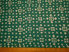 Batik Fabric By The Half-Yard White Floral Squares on Teal Quilting Cotton #7M