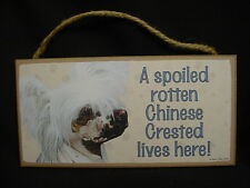 Chinese Crested A Spoiled Rotten Dog Sign wood wooden Hanging Wall Plaque puppy
