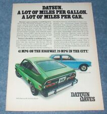 "1976 Datsun B-210 Hatchback Vintage Color Ad ""A Lot of Miles Per Car."""