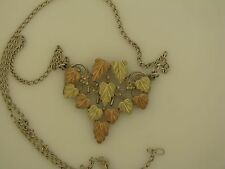 "BLACK HILLS GOLD 12K GOLD & STERLING SILVER LEAVES & GRAPES NECKLACE 17"" LONG"
