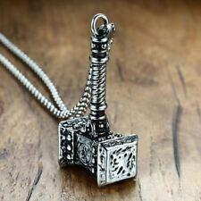 Mens Solid Hammer Pendant Necklace Stainless Steel Vintage Mjolnir