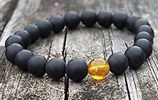 "Matte Onyx Honey Amber Black Yellow Round Beaded Stretch Adj. Bracelet 7.5"""