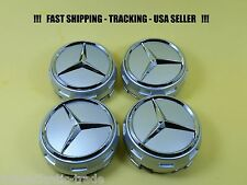Raised Silver Center Cap For Mercedes Benz ML S  E C GL GLK  Wheel Hub Caps 75