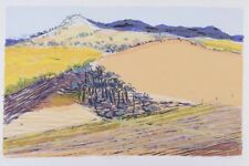 "Gail ENGLISH ""Coolibah Harvest"" superb ORIGINAL screenprint - LANDSCAPE yellow"