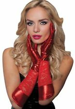 Red Lace Mistress wet Look Satin Gloves 50 Shades Clubwear Size M