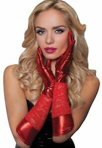 Christmas Red Lace wet Look Satin Gloves Clubwear Party Fancy Dress Seductress