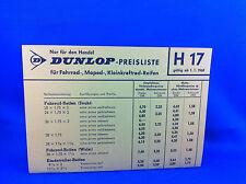 Dunlop Preisliste Fahrrad Moped Kleinkraftrad Reifen H17 1968 Handel