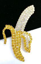 (W) AMAZING High End PRONG SET PAVE Rhinestone BANANA BROOCH COSTUME Jewelry