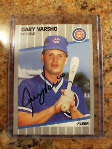 Autographed Gary Varsho baseball card - Chicago Cubs 1989 Fleer #441
