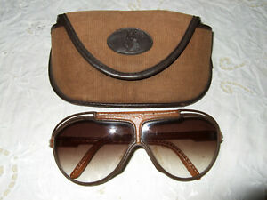 Vintage YSL Leather Clad  Sunglasses in Original Case