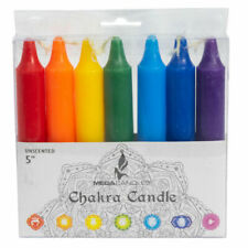 """Set of 7 Chakra Meditation Candles in Box 5"""" Solid Color Wax Candle"""