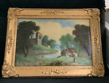 More details for large antique gilt wood & gesso frame with painting on glass