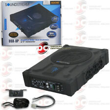"SOUNDSTREAM USB-8P UNDER SEAT ENCLOSURE SUPER SLIM POWERED 8"" CAR SUBWOOFER 800W"