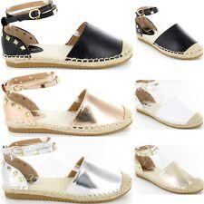 Ladies Womens Flat Heel Stud Ankle Strap Espadrilles Summer Sandals New Size 3-8