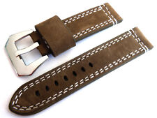 22mm Hand Stitches Olive Leather Watch Strap Fishtail Buckle
