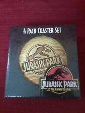 NIB Rare 4x Jurassic Park 25th Anniversary Fossil Coaster art deco man cave gift