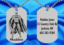 Batman Dog Tag Necklace for Kids, Personalized FREE with NAME!