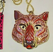 Betsey Johnson Crystal PINK WOLF / HUSKY / PANTHER Necklace SPARKLY & GOLD CHAIN