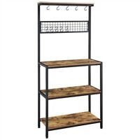 "67""H Baker's Rack For Kitchen Rustic Shelves Utility Storage Shelf Unit w/ Hook"