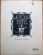 La Tour Eiffel Tower French Restaurant 1956 Large Menu & Wine - Montreal, Canada