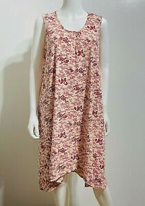 April Cornell S Pink Floral Toile Dress Sleeveless A-Line Stretch Pockets New