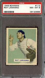 1949 BOWMAN #113 RAY LAMANNO PSA 8 RC ROOKIE REDS  *DS8309