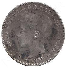 ESPAÑA 20 Centavos de Peso plata 1895  PUERTO RICO Rey Alfonso XII