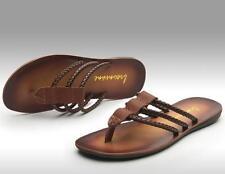 Summer Beach Men Leather Slipper Strappy Flat Roman Shoes Slingback Thong Sandal