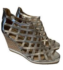 Donald J. Pliner Silver Strappy Wedge Sandals Sz 8.5 M Cork Open Toe NEW