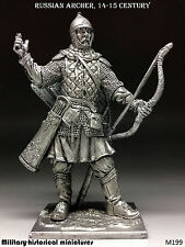 Russian archer, 14-15 century, Tin toy soldier 54 mm, figurine, metal sculpture