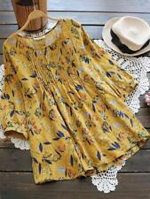 Women Casual Shirt Vintage Floral Print O Neck Tunic Tops Plus Size Blouse US