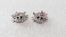 Hello Kitty Sparkly Silver Color Stud Earrings With Pink Bow So Cute!